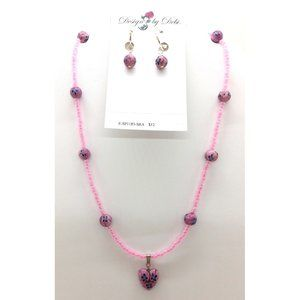 Pink and Blue Millefiori Necklace and Earrings Set